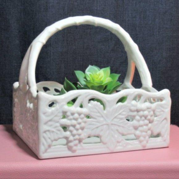 White Ceramic Grape Leaves Napkin Holder Scrolled